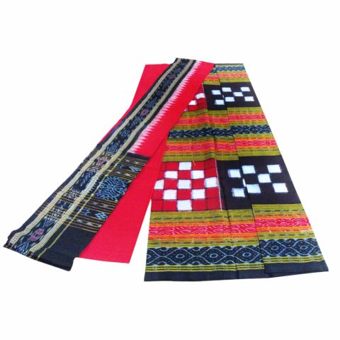 Sambalpuri Cotton Salwar Suit Material Black and Red Color Pasapali Design