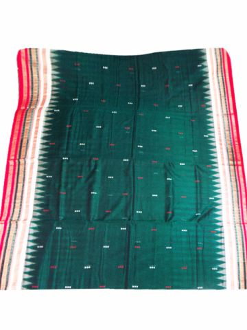 Bomkai Green Cotton Saree