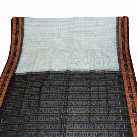 White Sambalpuri Bandha Saree with Stripped Body