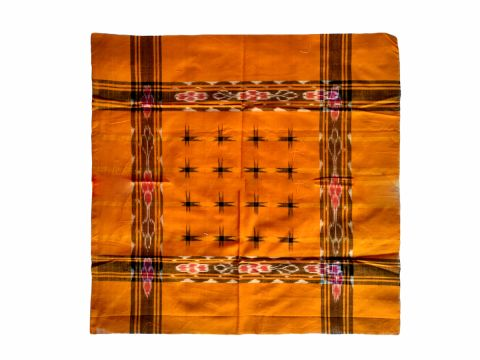 Hand Woven Sambalpuri Rumal Orange With 16 Star
