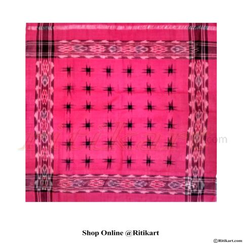 Odisha Sambalpuri Rumal pink colour With 36 Star