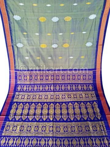 Grey Color Sambalpuri Bomkai Cotton saree body1