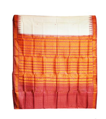 Rust Color Tussar Silk Saree
