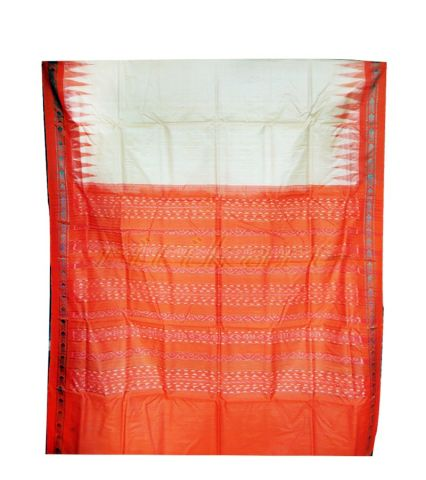 Cream and Orange Color Tussar Silk Saree with Bandha Aanchal