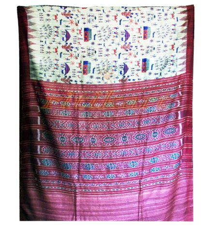 Cream and Maroon Color Tussar Silk Saree with Bandha Aanchal