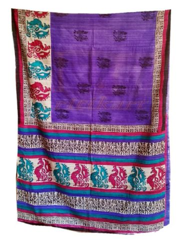 Tussar Silk Saree Violet and pink with flower design