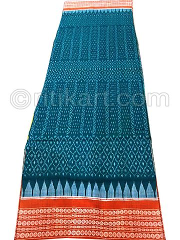 Hand Woven Sambalpuri Saree with Sky Blue Body and Rust Color Border
