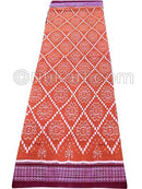 Brick Red With Violet Sambalpuri Square Design Saree