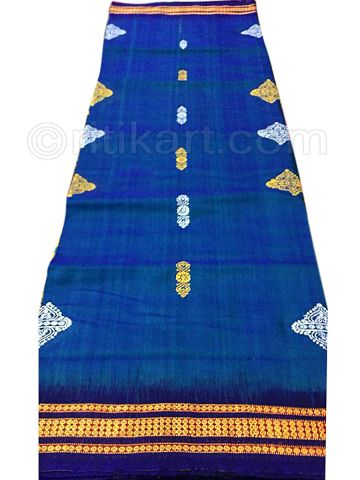 Royal Blue Sambalpuri Hand Woven Cotton Flower Design Saree