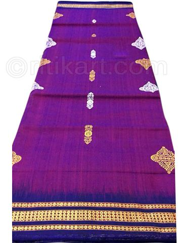 Violet Sambalpuri Hand Woven Cotton Flower Design Saree