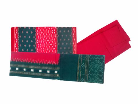 Sambalpuri Cotton Salwar Suit Material Red and Green Color