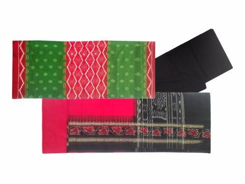 Salwar Suit Material Red and dark green Color with butty Design