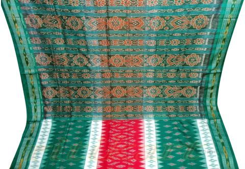 Green and White Nuapatana Khandua Cotton Saree P1