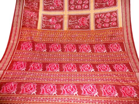 Sambalpuri Hand Woven Maroon With Rose Design Saree.