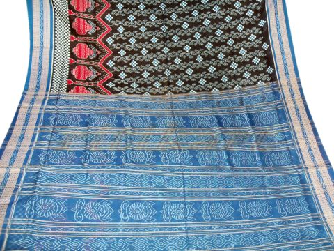 Sambalpuri Hand Woven Black With Blue Border Design Saree