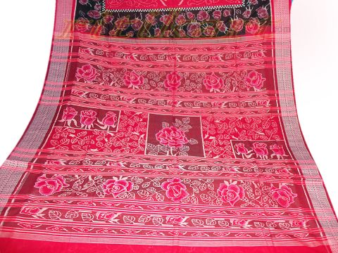 Sambalpuri Hand Woven Red With Black Swan And Rose Design Saree