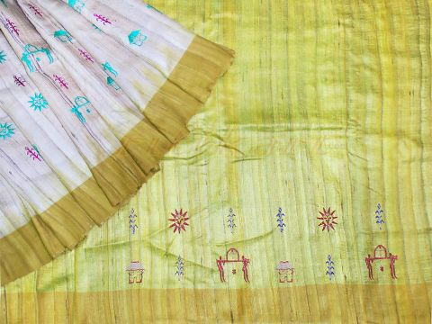 Tussar Silk Saree Gray and light Parrot Color