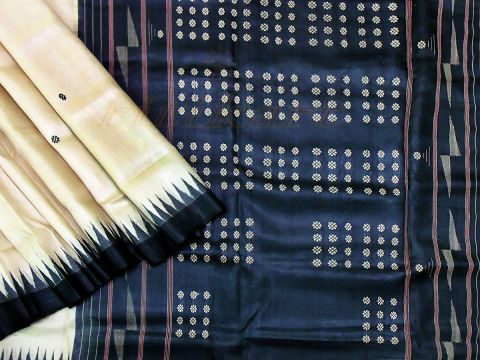 Tussar Silk Saree Gray And Black  Color