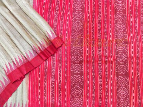 Red And Gray Color Tussar Silk Saree
