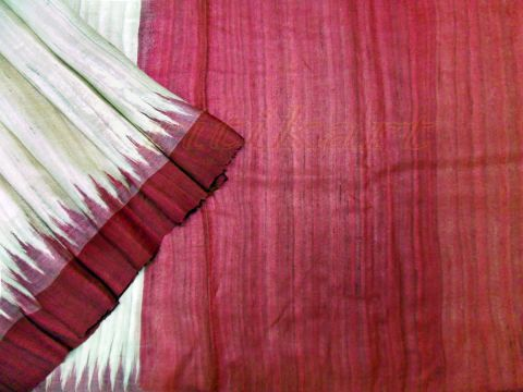 Marron And Gray Color Tussar Silk Saree