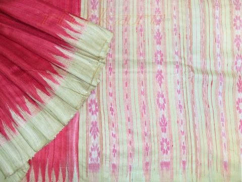 Tussar Saree Red Body With Light Pink Anchal