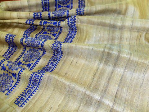 Tussor Ghichha Blue Border Ladies Dupatta