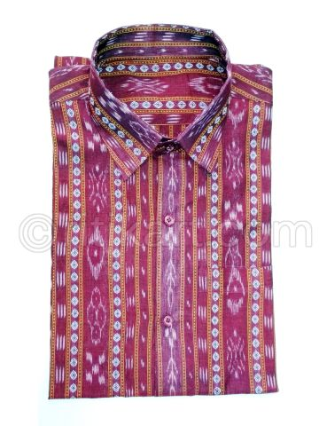 Pink Color Sambalpuri Handloom Cotton shirt
