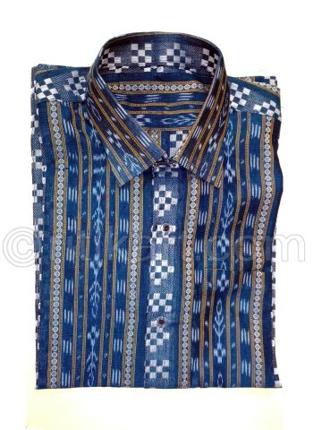 Cupper Sulphate Color Sambalpuri Handloom Cotton Half Shirt