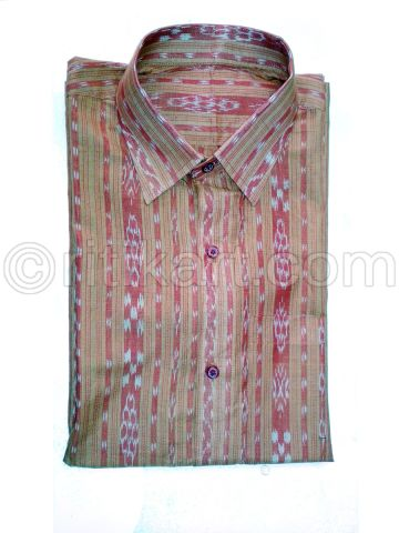 Dark Vintage Rose Color Color Sambalpuri Handloom Cotton Half Shirt