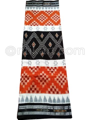 Rust And Black Nuapatana Khandua Cotton Saree P1