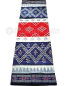 Navy Blue Red And White Nuapatana Khandua Cotton Saree P1