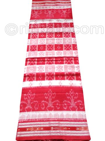 Red And White Hyco Nuapatana Khandua Cotton Saree P1