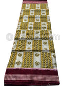 Mehendi White Zig Zag Design Sambalpuri Cotton Saree