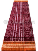 Brick  And Orange Jhoti  Design Sambalpuri Cotton Saree
