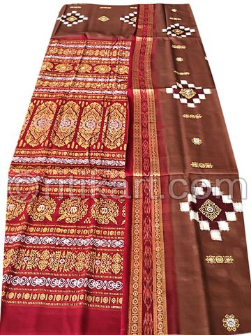 Chocolate And Maroon Pasapalli  Sambalpuri Cotton Saree