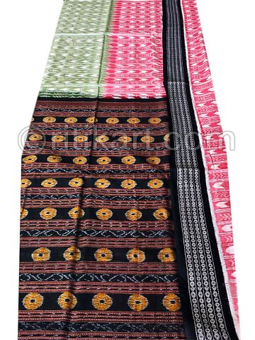 Pink Green And Black Sambalpuri Cotton Saree