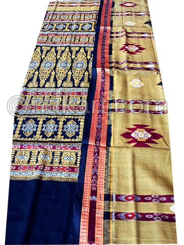 Beige Maroon And Navy Blue Sambalpuri Cotton Saree