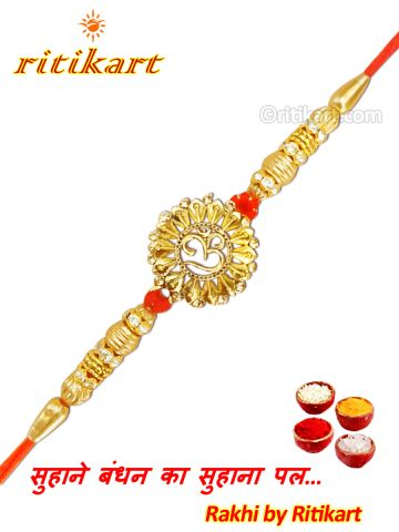 Designer Omm With Golden Flower Rakhi P1
