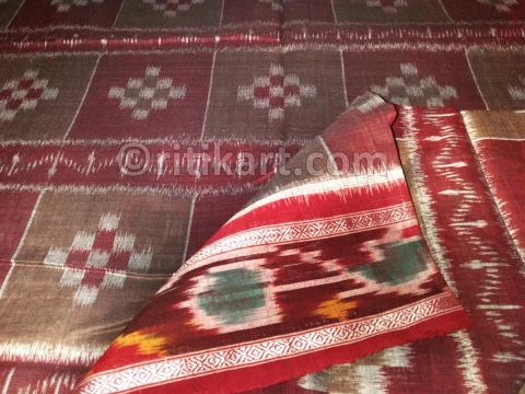 Brown and Maroon Maniabandha Cotton Saree P1