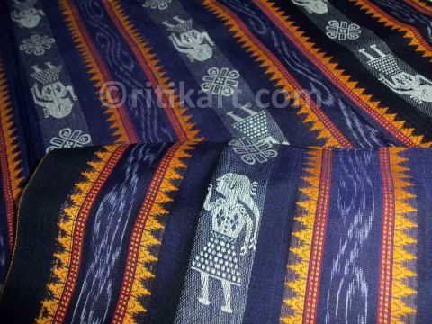 Dark Slate Blue Color Sambalpuri Doll Design Salwar Suit