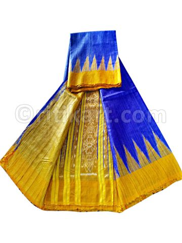 Blue And Yellow Color Tussar Silk Saree