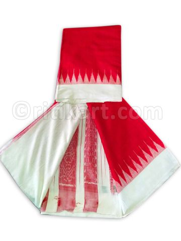 Red Color Tussar Silk Saree