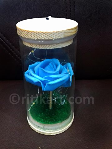 Blue Rose with LED Lights (With Glass Cover) P1