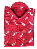 Red Color Sambalpuri Handloom Half Shirt (For Men)