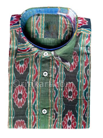 Sea Green Sambalpuri Handloom Half Shirt