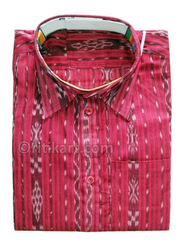 Gorgeous Red Sambalpuri Handloom Half Shirt (For Men) P1