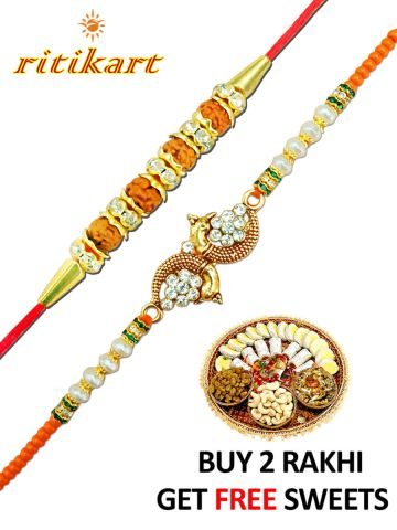 Buy 2 Rakhis (Rudhaksha and Peacock Design) p1