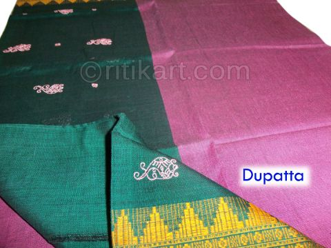 Sambalpuri Cotton Salwar Suit Material Green and Pink Color pic-3