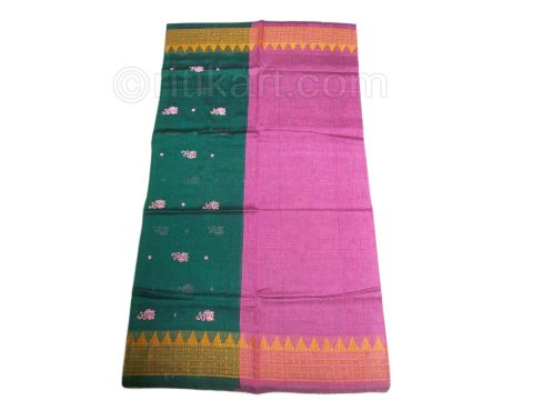 Sambalpuri Cotton Salwar Suit Material Green and Pink Color pic-5