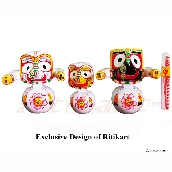 Jagannath Balabhadra Subhadra Wooden Idol Height 15 CMs Round Design